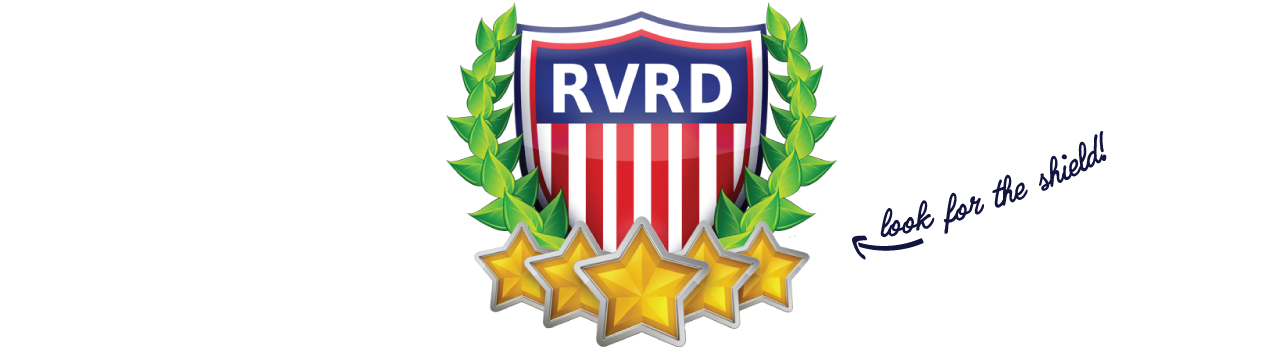 "RVRD shield logo with text ""look for the shield"""