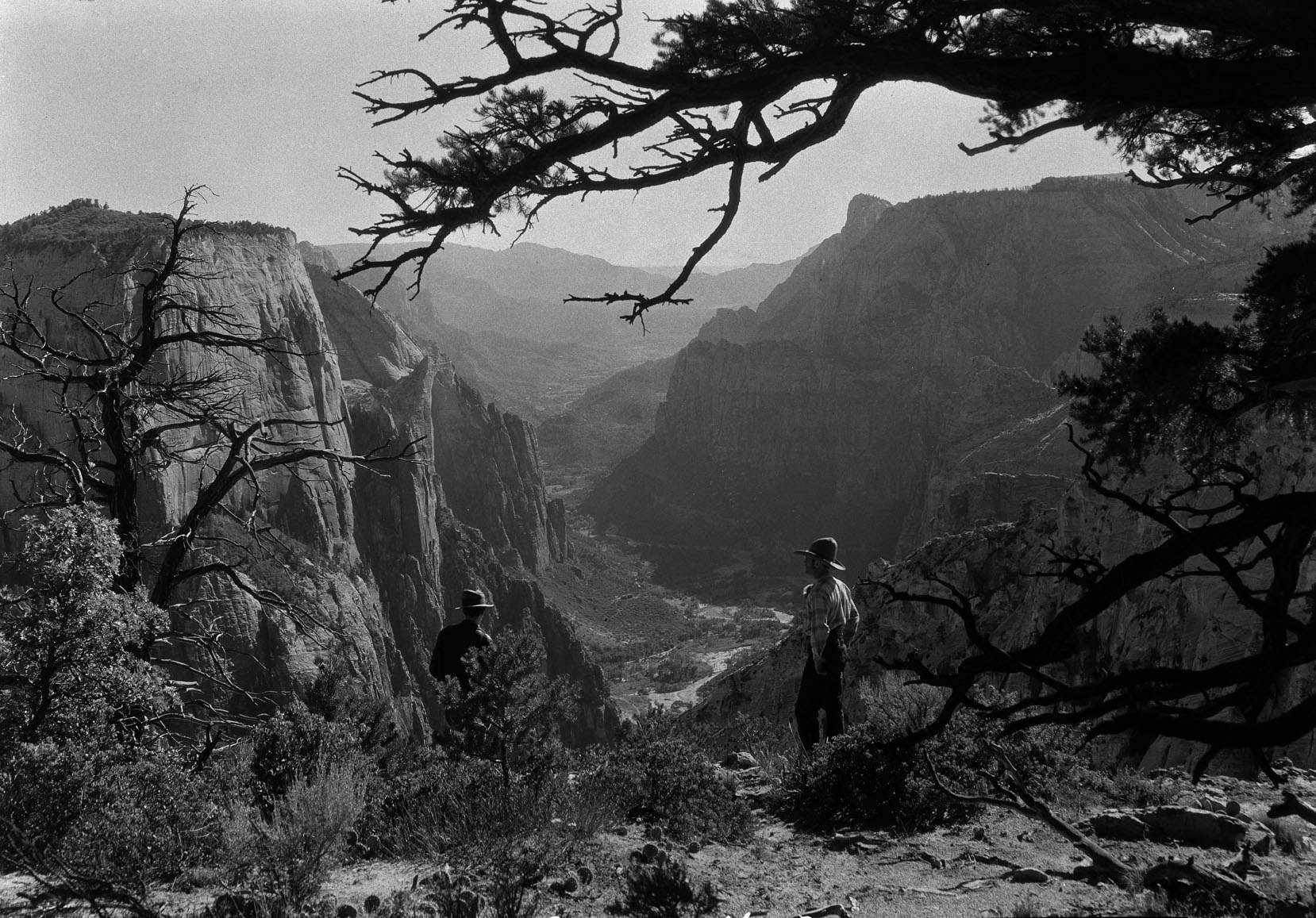 Photo taken in late 1800's of two men over-looking Zion Canyon.