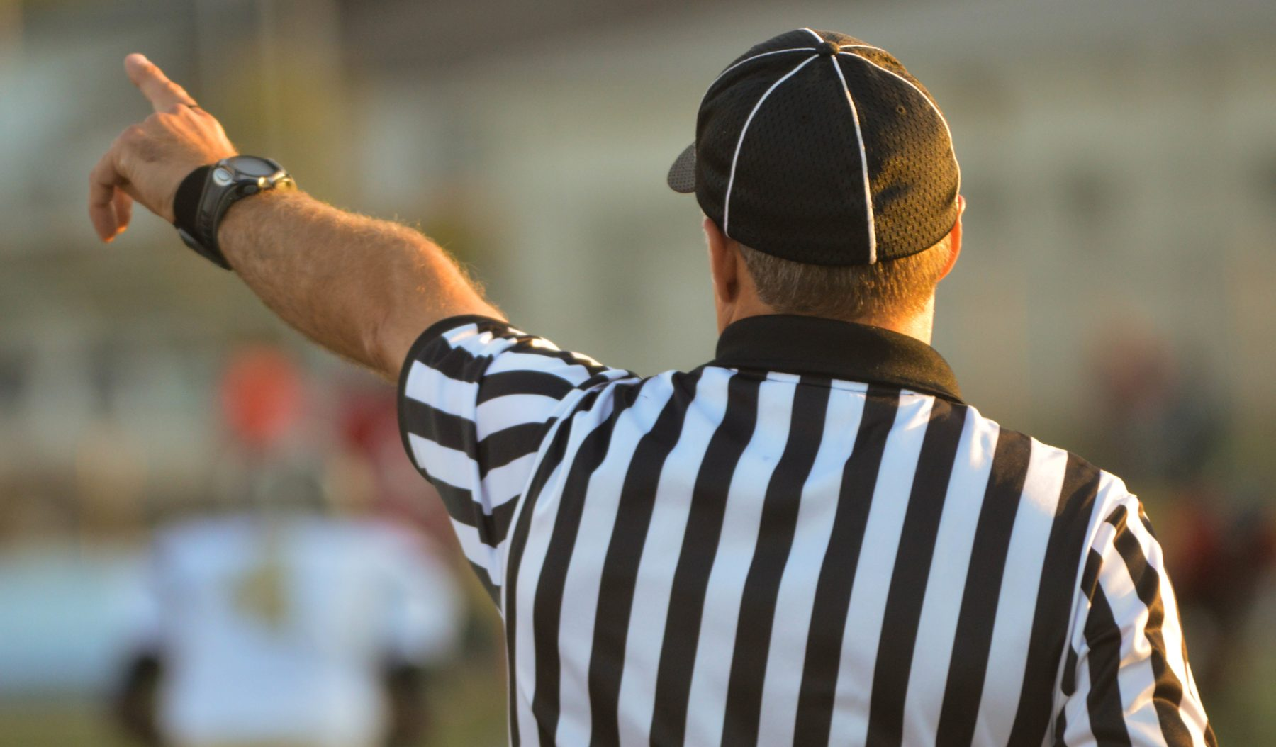 Referee with back to camera pointing.