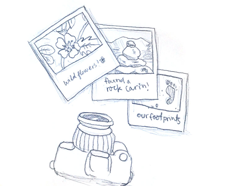 Sketch of camera and Polaroids showing wildflowers, rock carins, and footprints.