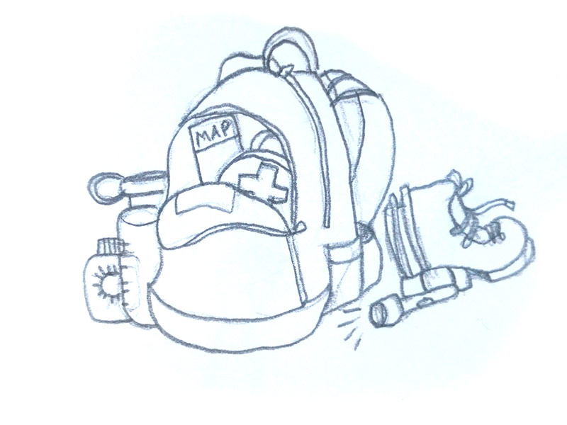 sketch of backpack with gear: sunscreen, waterbottle, map, first aid kit, boots, and flashlight.