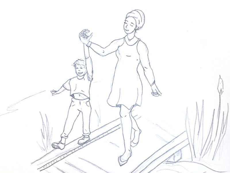 Sketch of woman walking on a boardwalk with her child.