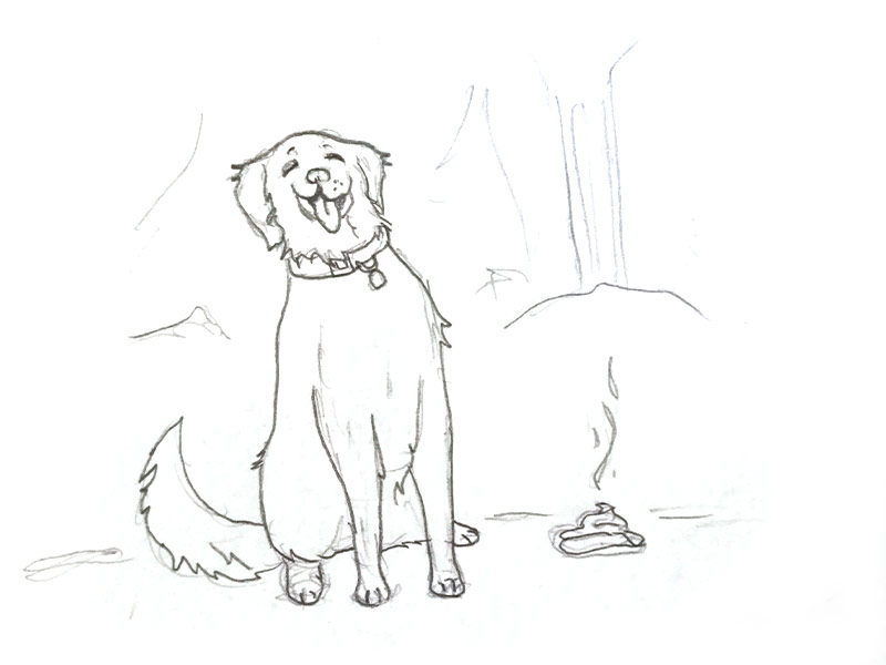 sketch of dog and it's poop