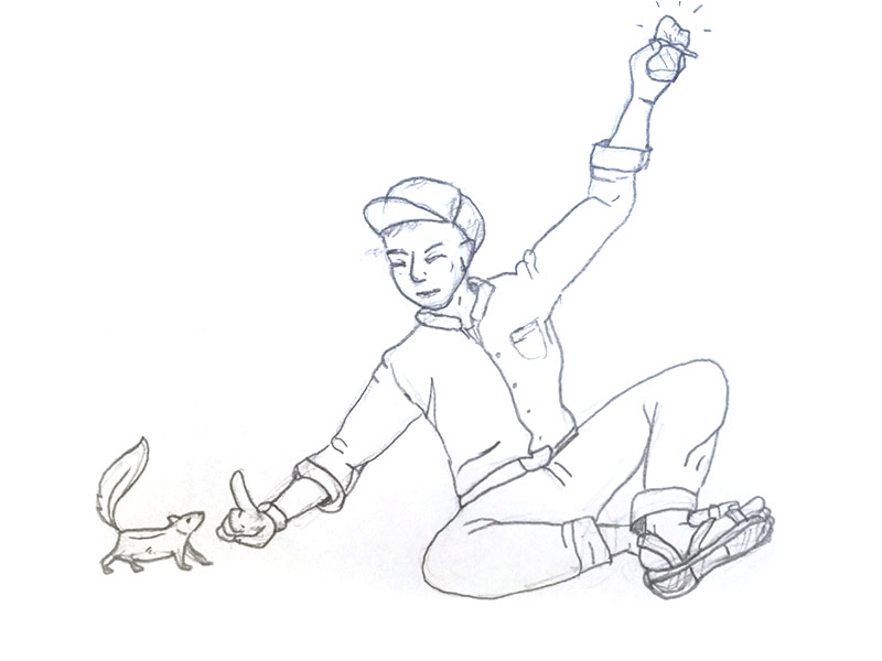 sketch of man holding trail-bar away from squirrel